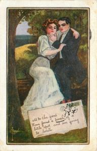 C Ryan~Romantic Victorian Couple on Park Bench~Found A Peach~Envelope Serie~1911