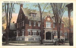 Gloversville New York Masonic Temple Street View Antique Postcard K96636