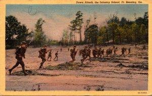 Georgia Fort Benning Infantry School Down Attack 1942 Curteich