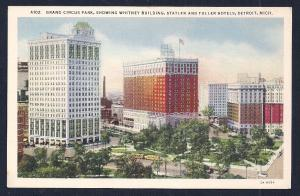 Grand Circus Park Whitney Bldg Hotel Detroit MI unused c1932
