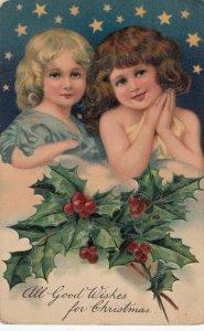 AS: CHRISTMAS, 1900-10s; Girls under stars, Holly, PFB 8060 #2