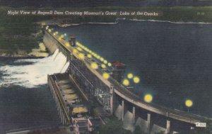 MISSOURI, 30-40s; Night View, Bagnell Dam Creating Missouri's Lake of the Ozarks