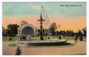 1907-15 Allentown PA West Park Fountain Bandstand Stage Old Antique DB Postcard