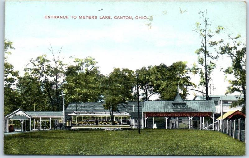 Canton, Ohio Postcard Entrance to Meyers Lake N.O.T.& L.C. Railway Depot 1910s