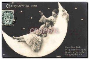 Postcard Old Woman Fantasy Moon Moon Crescents Pierrot Columbine