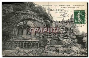 Old Postcard Rotheneuf Rocks Sculptes the tomb of Saint Budoc
