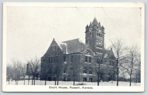 Russell Kansas~Old County Courthouse in Snow~Bare Trees~1929 Kans City Ellis RPO