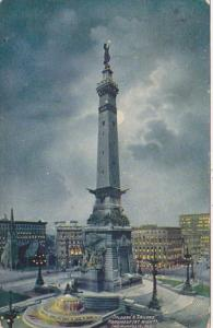 Indiana Indianapolis Soldiers and Sailors Monument At Night 1910