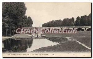 Old Postcard Chalon sur Saone The False and the Bridge