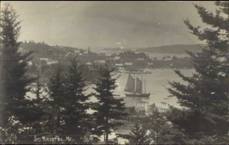 South Bristol ME General View of Harbor c1915 Real Photo Postcard