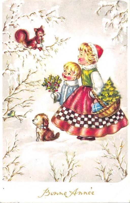 New Year, Bonne Annee, children squirrel mistletoes basket bird puppy pet dog
