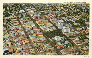Air View Of Lubbock Texas~Buildings & Tree Covered Green~1942~Postcard