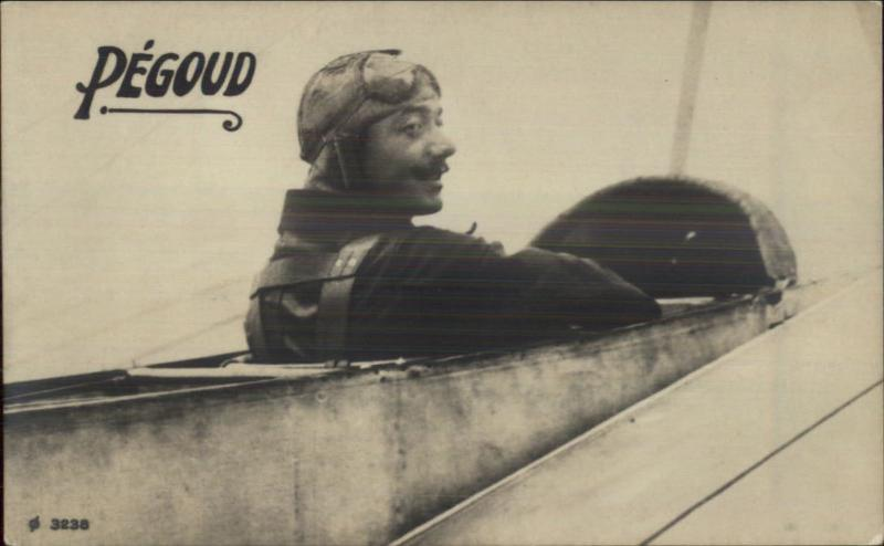 Pioneer Aviation Pilot PEGOUD in Airplane c1910 Real Photo Postcard