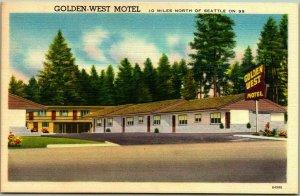 Edmonds, Washington Postcard GOLDEN-WEST MOTEL Highway 99 Roadside Linen - 1956