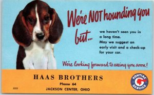 Jackson Center, Ohio Postcard HAAS BROTHERS PONTIAC Car Service Ad c1950s Unused