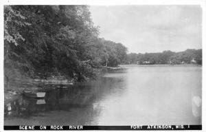 Fort Atkinson Wisconsin~Scene on Rock River~Boat Along Shore~Vintage RPPC