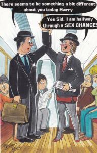 Tube Train Sex Change Swop Railway Carriage 1970s Bamforth Comic Humour Postcard