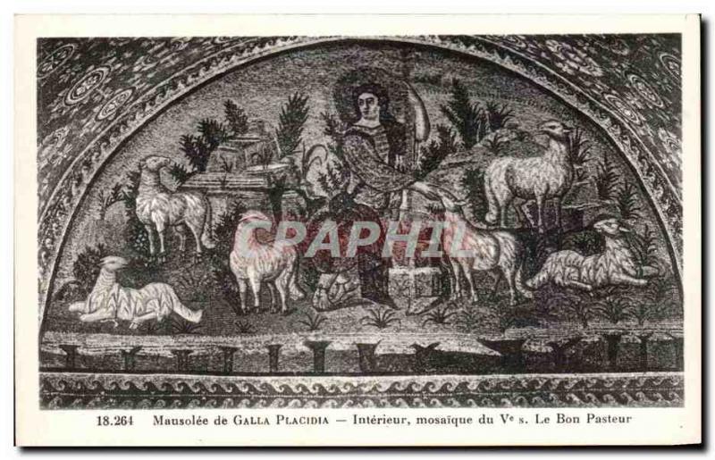 Old Postcard Mausoleum of Galla Placida Interior mosaic the good shepherd