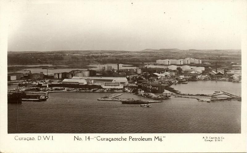 curacao, D.W.I., WILLEMSTAD, Petroleum Company (1926) Stamp, Capriles  RPPC 14