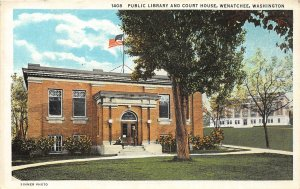 G33/ Wenatchee Washington Postcard c1920 Public Library Court House