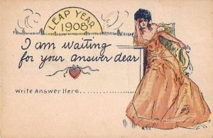 New Year Greetings Leap Year 1908 Romance Vintage Postcard JJ649041