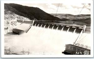 Grand Coulee Dam Washington RPPC Real Photo Postcard Aerial View ELLIS #1918