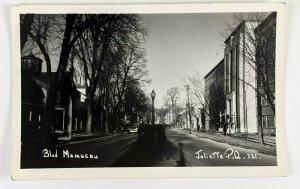 1950s Joliette Quebec Canada Manseau Blvd RPPC Postcard Street Lamp Scene