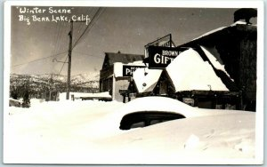 1945 Big Bear Lake, California RPPC Real Photo Postcard Winter Scene Snow