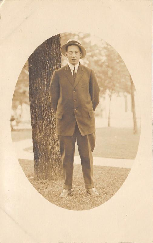 Man Posing~Harry (Curly) Griffith Pap's Roommate in Portland Oregon~c1915 RPPC