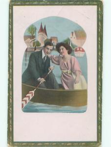 Pre-Linen foreign PRETTY EUROPEAN GIRL BEING ROWBOAT BOAT WITH MAN J4439