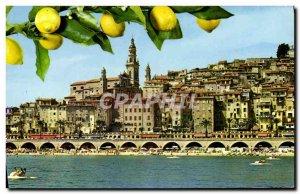 Postcard Moderne Menton Scenic View On The Old Menton Lemon