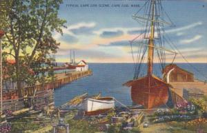Massachusetts Cape Cod Typical Waterfront Scene 1937