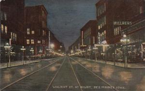 Iowa Des Moines Walnut Street At Night