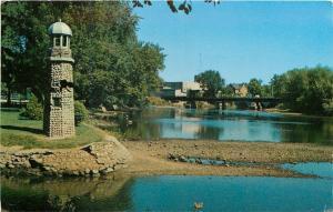 Three Rivers Michigan~Scidmore Park~Stone Lighthouse~1958 Postcard