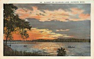 JACKSON MICHIGAN~BEAUTIFUL SUNSET ON CHARLES LAKE~1920s HARRY HAMM PUBL POSTCARD