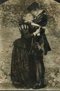 CH-313 The Huguenot Man and Woman Kissing RPPC Real Photo Postcard Divided Back