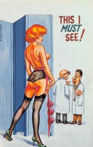 D62/ Nude Comic Bamforth-Like Risque Postcard c1940s 3 Boobs Woman Doctors 28