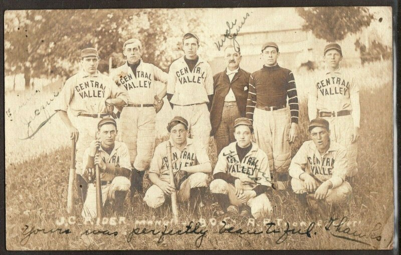1905 Central Valley New York baseball team J.C. Rider manager rppc