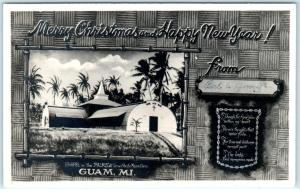 RPPC  GUAM, MARIANA ISLANDS  Merry Christmas Card  CHAPEL IN THE PALMS  Postcard
