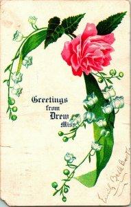 Vtg 1907 Undivided Back Postcard - Greetings From Drew, Miss - Mississippi