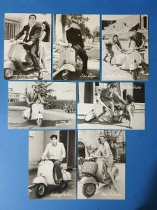 Set of 7 Black & White Film Stars Postcards, Vespa Scooters BK7