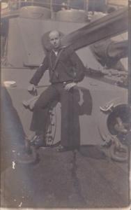 Military Sailor Posing By Gun On Ship Real Photo
