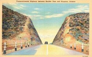 Transcontinental Highway b/w Boulder Dam & Kingman, AZ, 1937 Postcard g5728