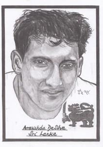 Aravinda De Silva Sri Lanka Cricket Artist Drawing Limited Edn of 500 Postcard