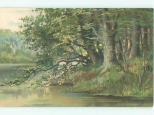 foreign Pre-1907 Postcard signed TREES DOWN BY THE RIVER AC3450