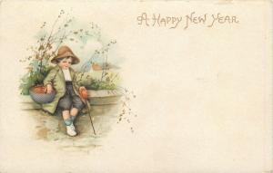 New Year Boy Rests on Stone Wall~Basket~Walking Stick~G Series No 319~Germany