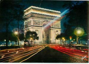 Paris Night Arc of Triumph L'Arc de Triomphe Illumine France   Postcard  # 6830