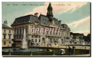 Old Postcard Tours L & # 39Hotel City And the jets & # 39Eau