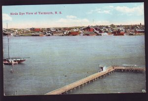 P1534 vintage unused postcard birds eye view yarmouth Nova Scotia canada