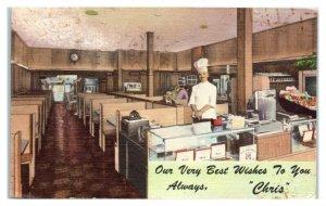 1957 Chris Steak House w/ Cigar Counter, Sault Ste. Maire, MI Postcard *6E(2)24
